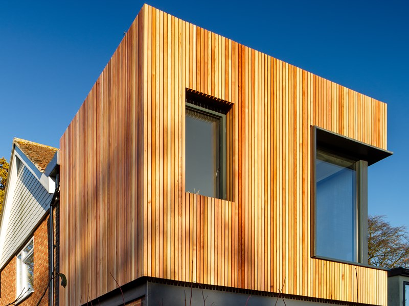 Western Red Cedar cladding - upper story